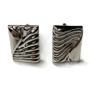 Vintage Cuff Links Silver Tone Ribbed Edge